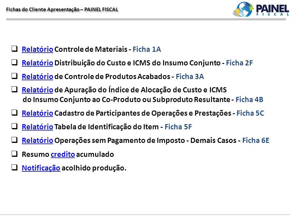 Fichas do Cliente Apresentação – PAINEL FISCAL