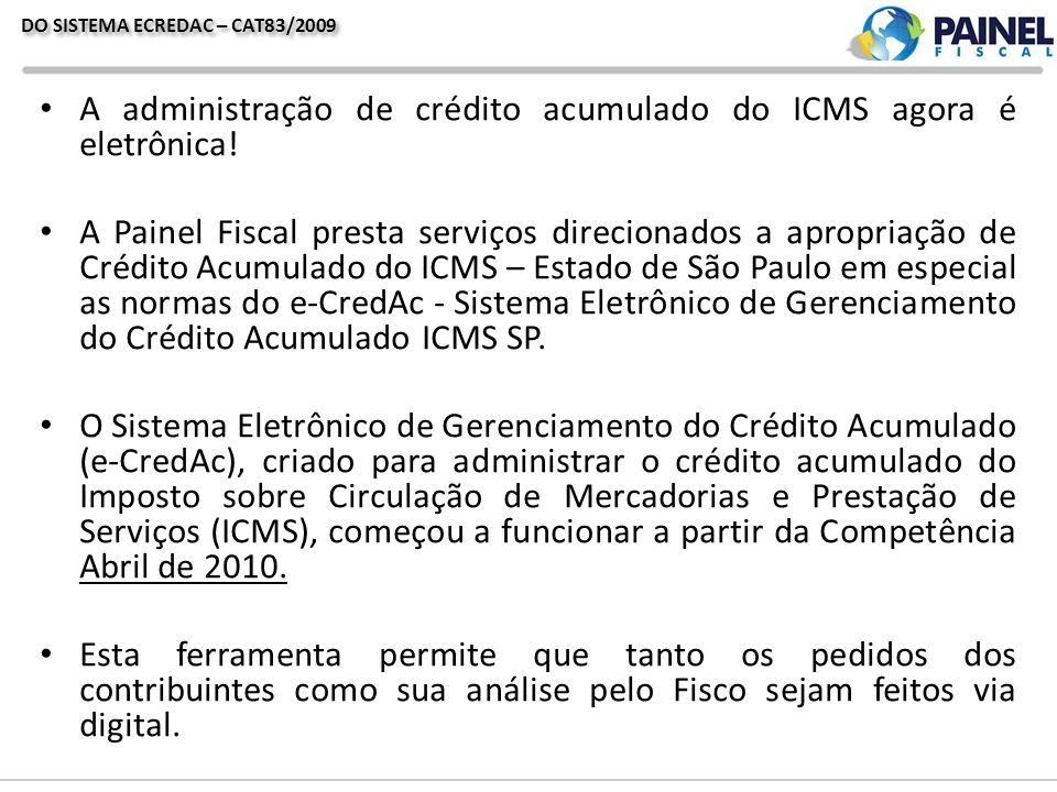 DO SISTEMA ECREDAC – CAT83/2009