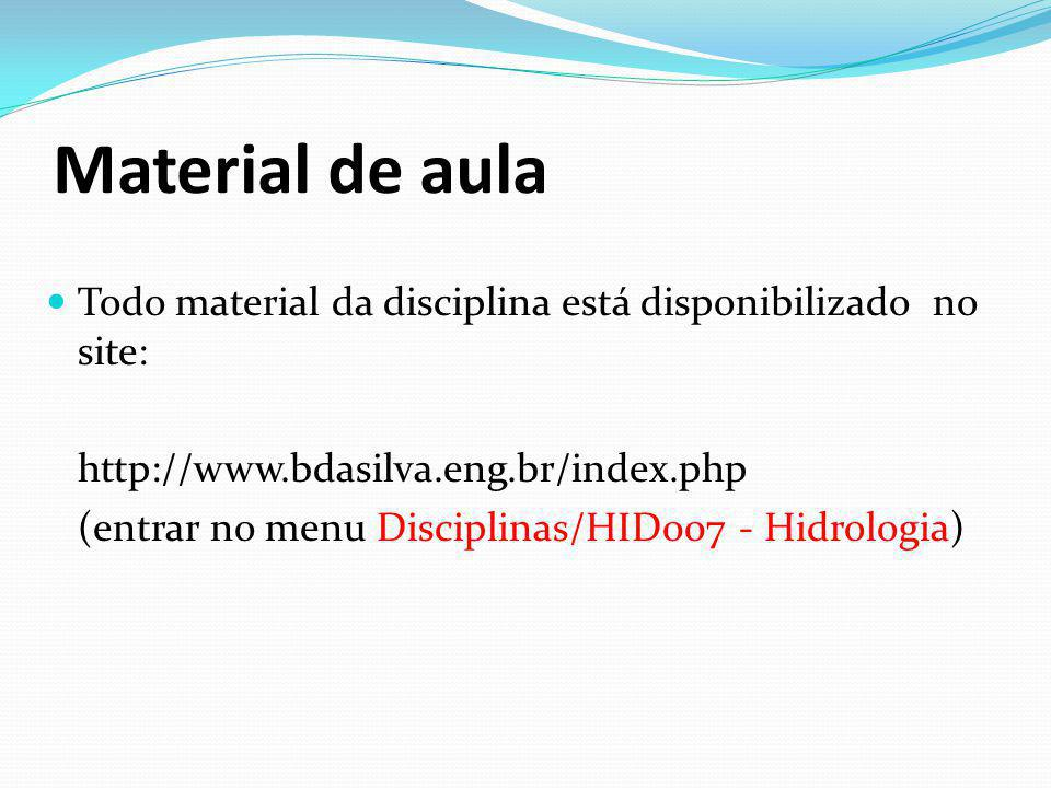 Material de aula Todo material da disciplina está disponibilizado no site: http://www.bdasilva.eng.br/index.php.