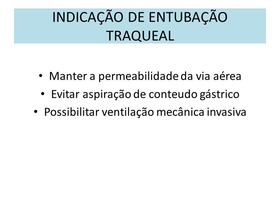 INDICAÇÃO DE ENTUBAÇÃO TRAQUEAL