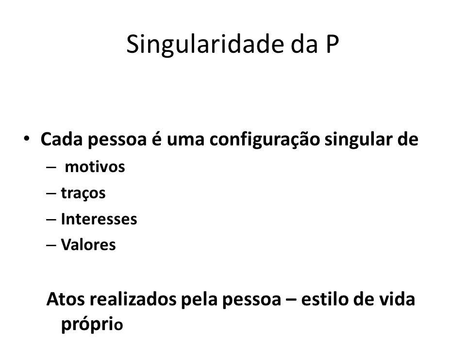 Singularidade da P Cada pessoa é uma configuração singular de