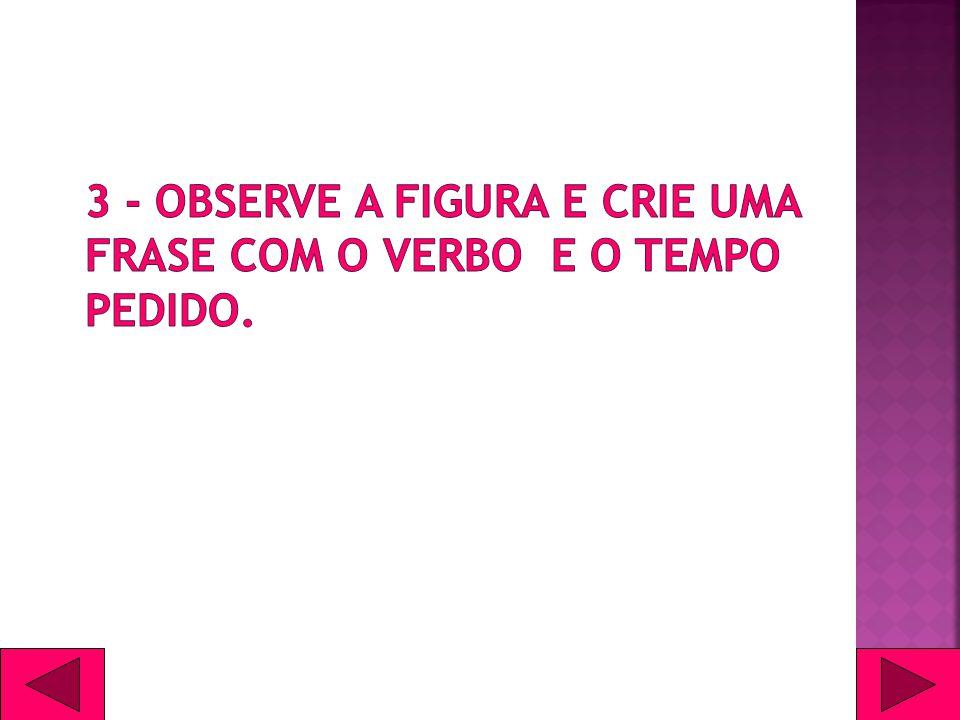 3 - Observe a figura e crie uma frase com o verbo e o tempo pedido.