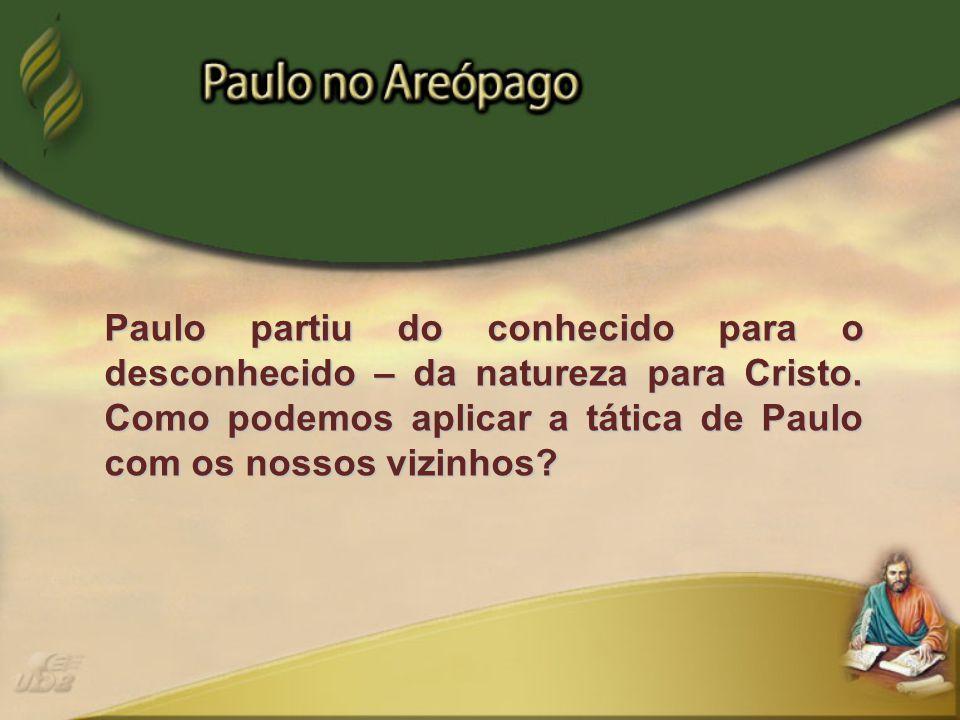 Paulo partiu do conhecido para o desconhecido – da natureza para Cristo.