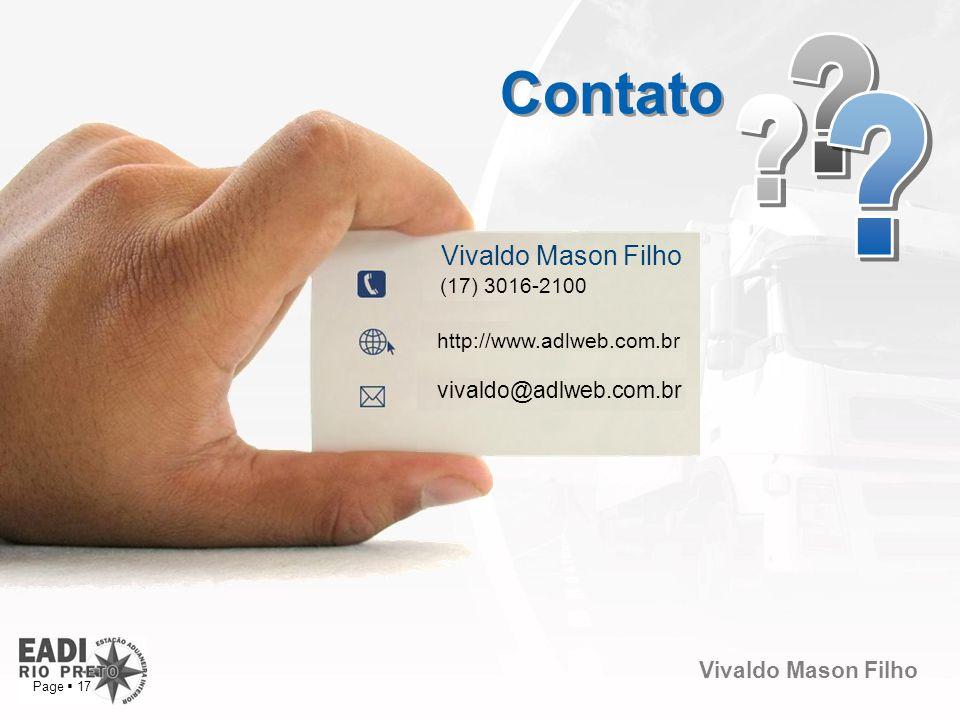 Contato Vivaldo Mason Filho vivaldo@adlweb.com.br (17) 3016-2100