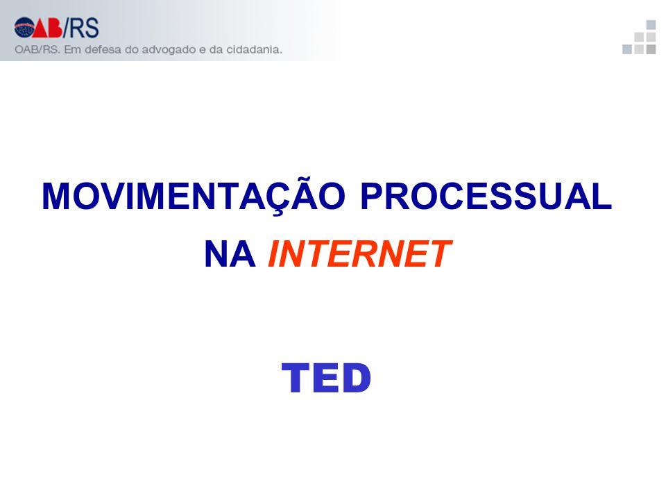 MOVIMENTAÇÃO PROCESSUAL NA INTERNET TED