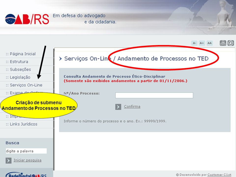 Andamento de Processos no TED