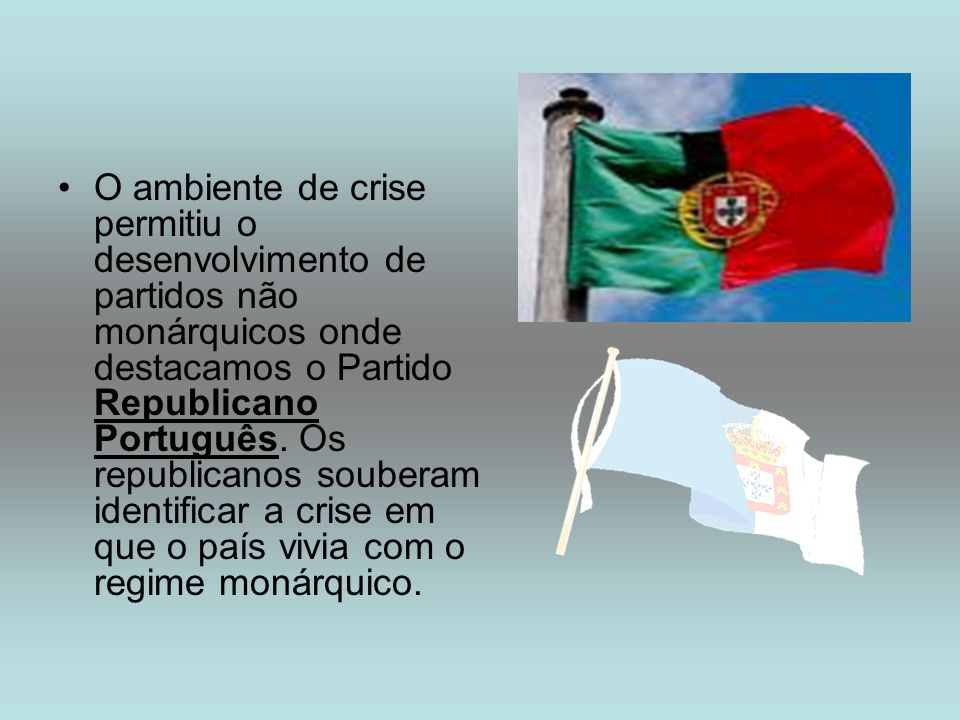 O ambiente de crise permitiu o desenvolvimento de partidos não monárquicos onde destacamos o Partido Republicano Português.