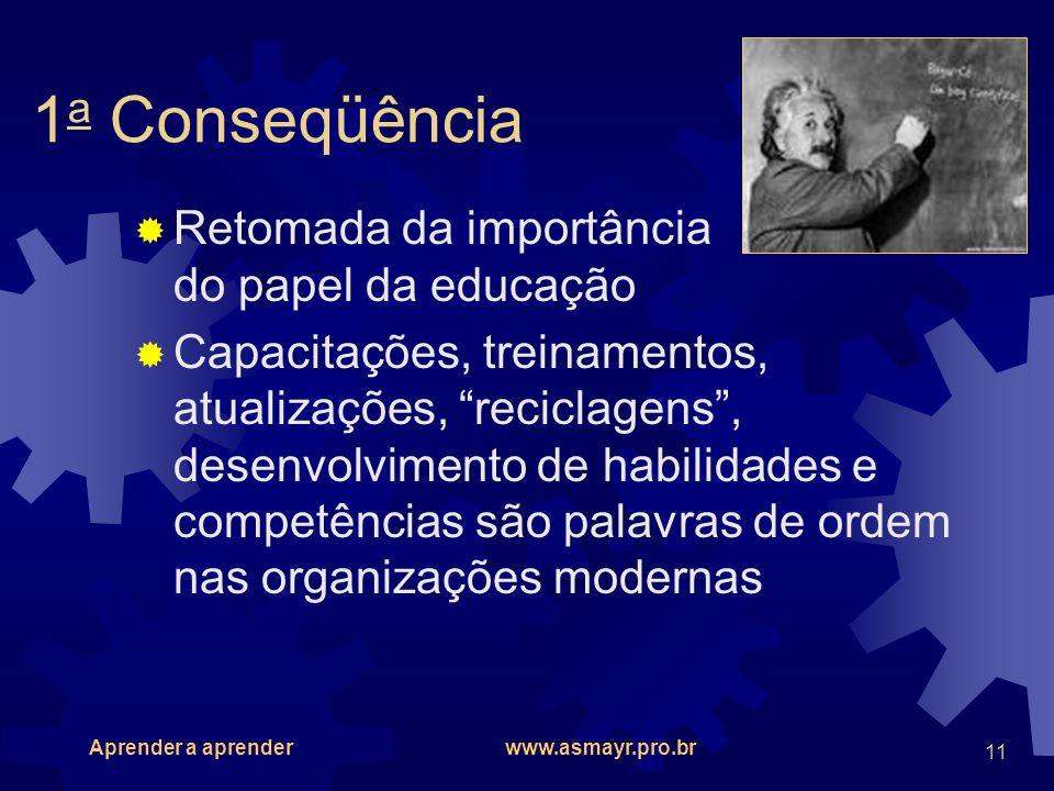 1a Conseqüência Retomada da importância do papel da educação