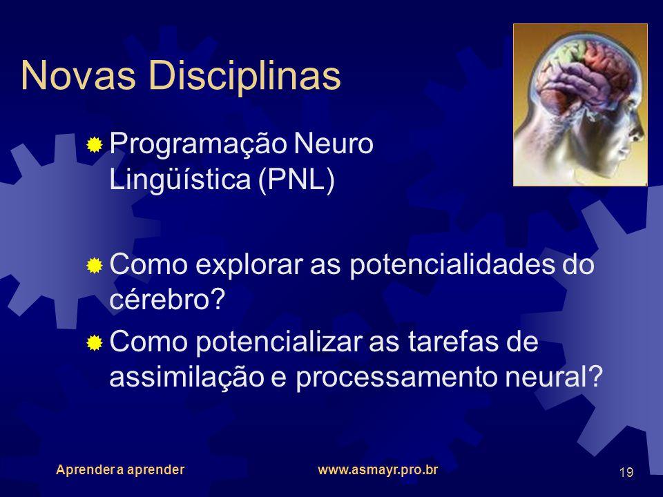 Novas Disciplinas Programação Neuro Lingüística (PNL)