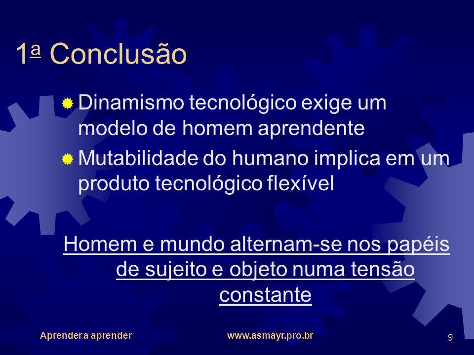 1a Conclusão Dinamismo tecnológico exige um modelo de homem aprendente
