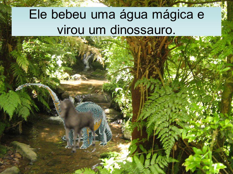 Ele bebeu uma água mágica e virou um dinossauro.