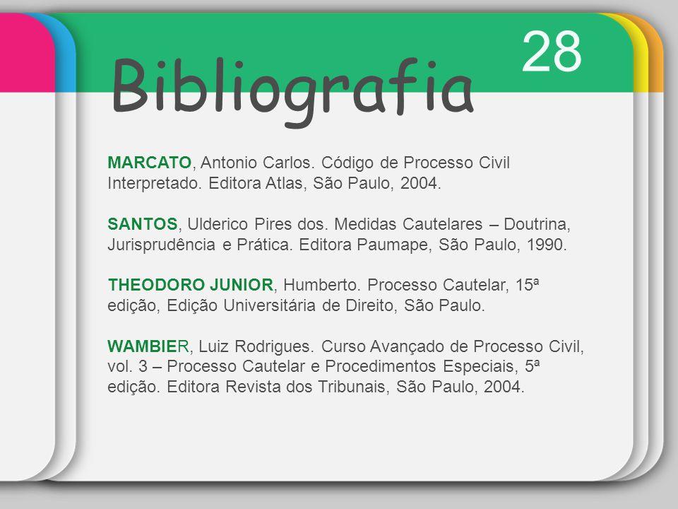 28 Bibliografia. MARCATO, Antonio Carlos. Código de Processo Civil Interpretado. Editora Atlas, São Paulo, 2004.