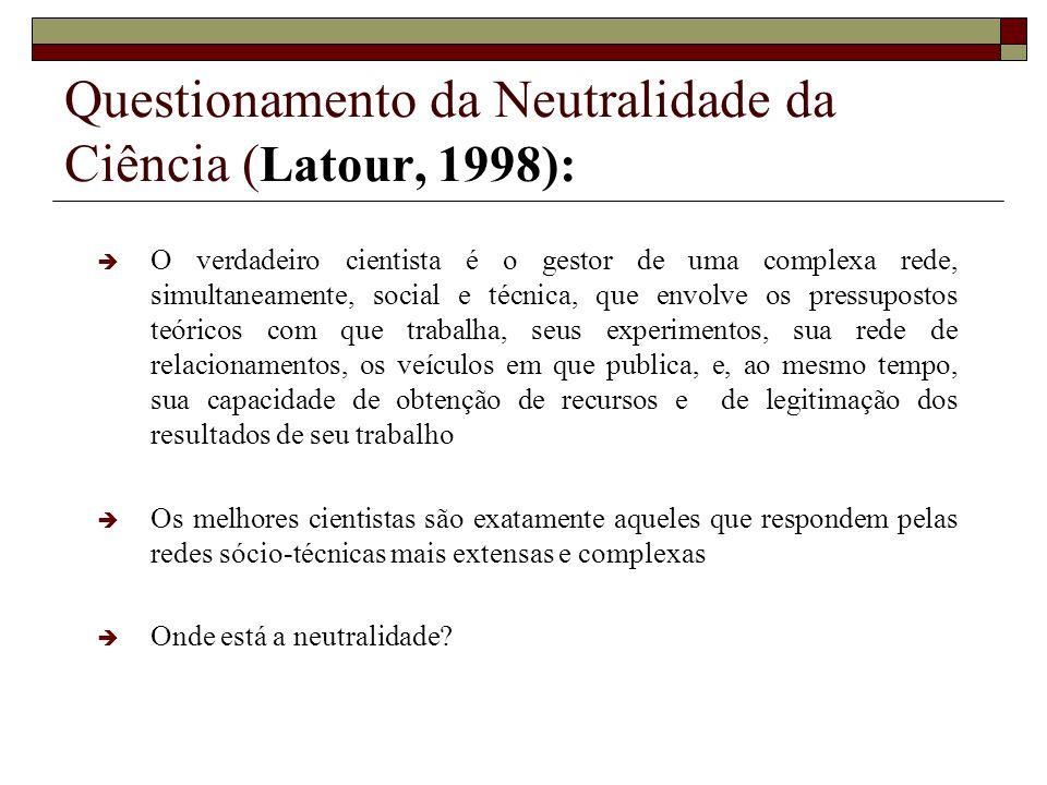 Questionamento da Neutralidade da Ciência (Latour, 1998):