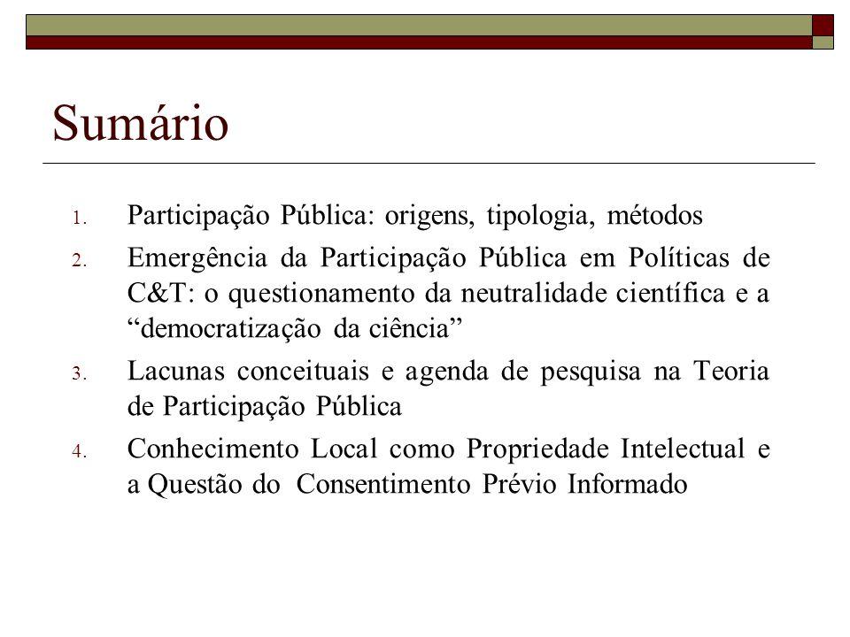 Sumário Participação Pública: origens, tipologia, métodos