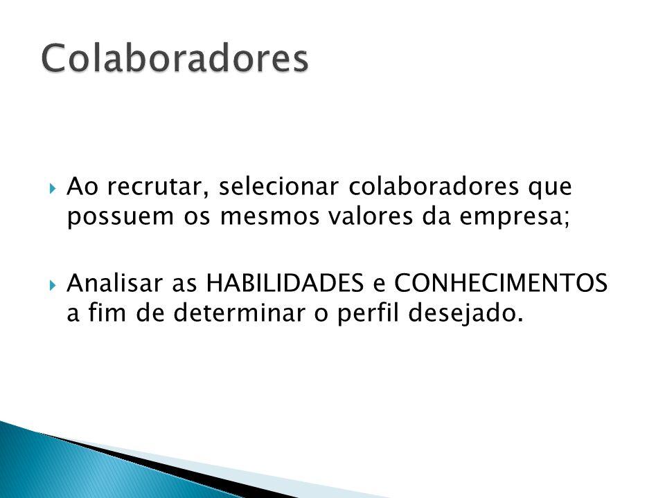 Colaboradores Ao recrutar, selecionar colaboradores que possuem os mesmos valores da empresa;