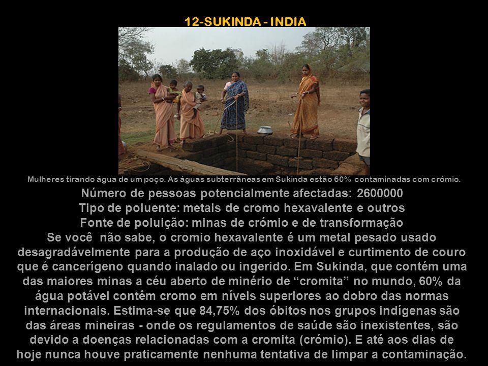 12-SUKINDA - INDIA Mulheres tirando água de um poço. As águas subterrâneas em Sukinda estão 60% contaminadas com crómio.