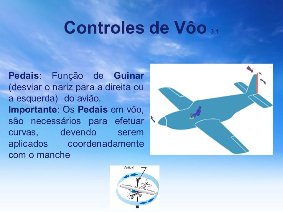 Controles de Vôo 3.1 Pedais: Função de Guinar (desviar o nariz para a direita ou a esquerda) do avião.