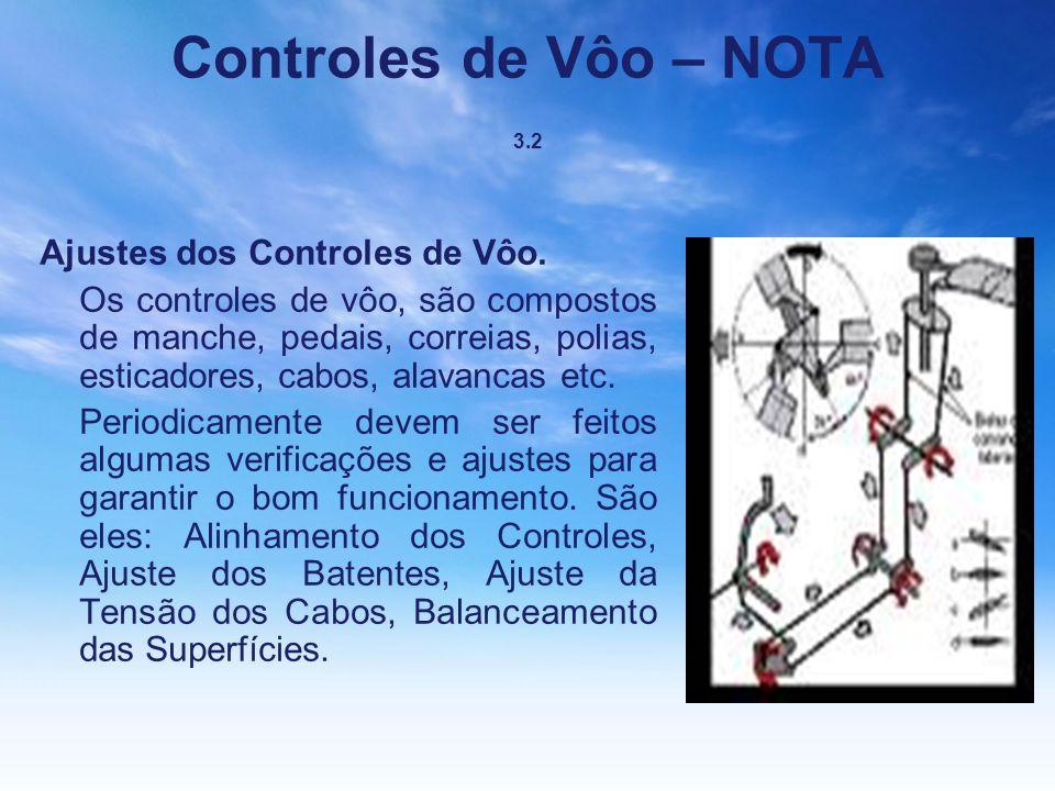 Controles de Vôo – NOTA 3.2 Ajustes dos Controles de Vôo.