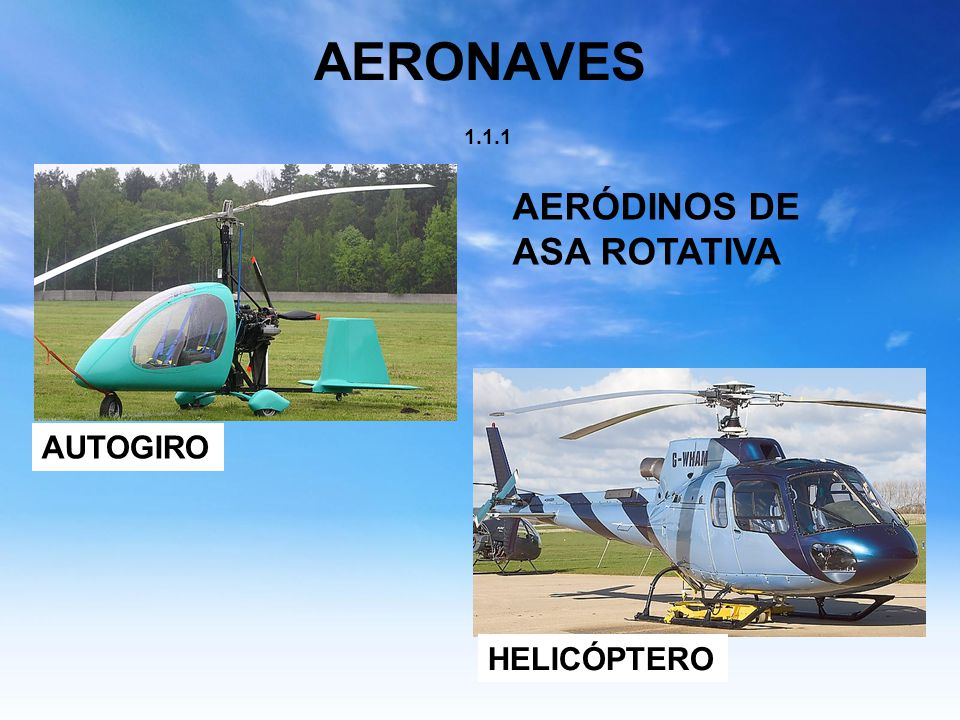 AERONAVES 1.1.1 AERÓDINOS DE ASA ROTATIVA AUTOGIRO HELICÓPTERO