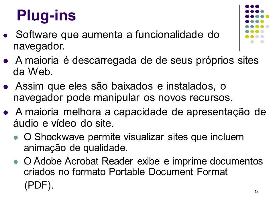 Plug-ins A maioria é descarregada de de seus próprios sites da Web.