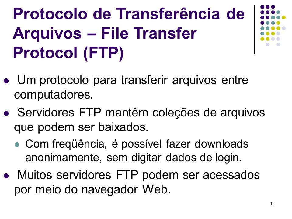 Protocolo de Transferência de Arquivos – File Transfer Protocol (FTP)