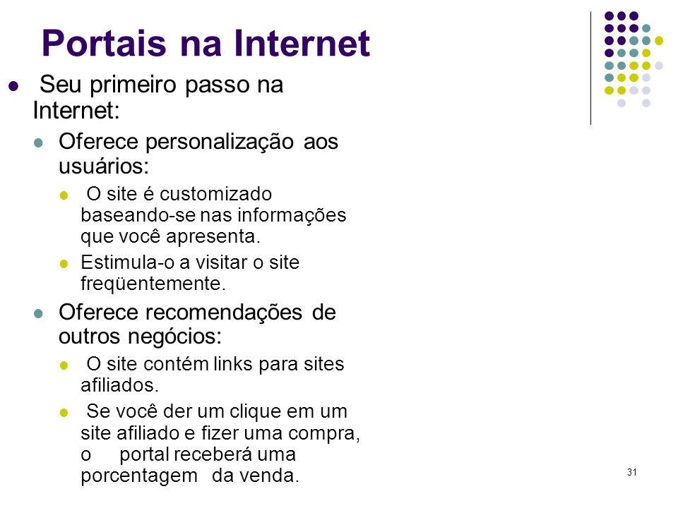 Portais na Internet Seu primeiro passo na Internet:
