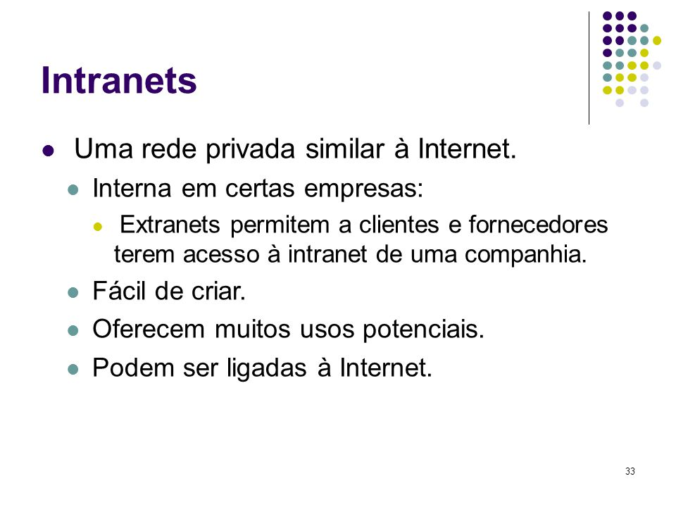 Intranets Uma rede privada similar à Internet.