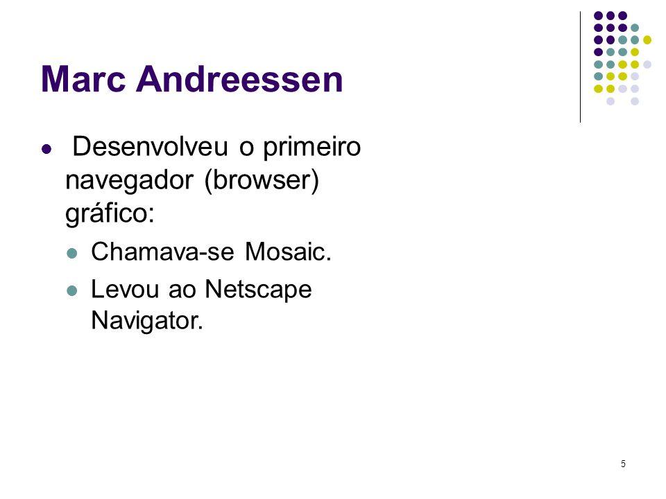 Marc Andreessen Chamava-se Mosaic. Levou ao Netscape Navigator.