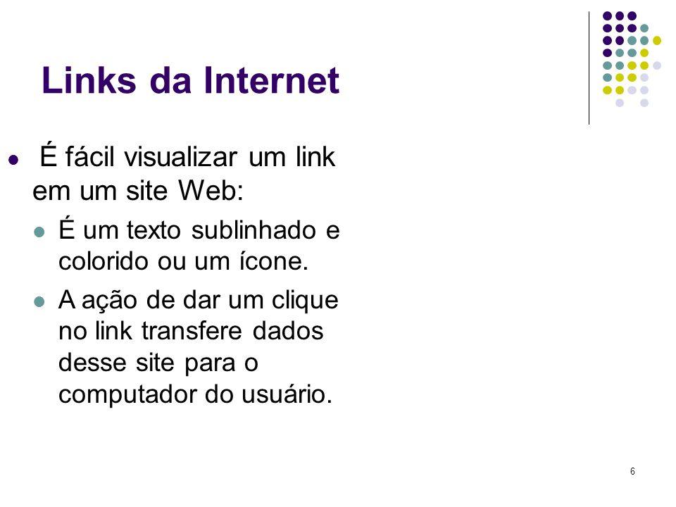 Links da Internet É um texto sublinhado e colorido ou um ícone.