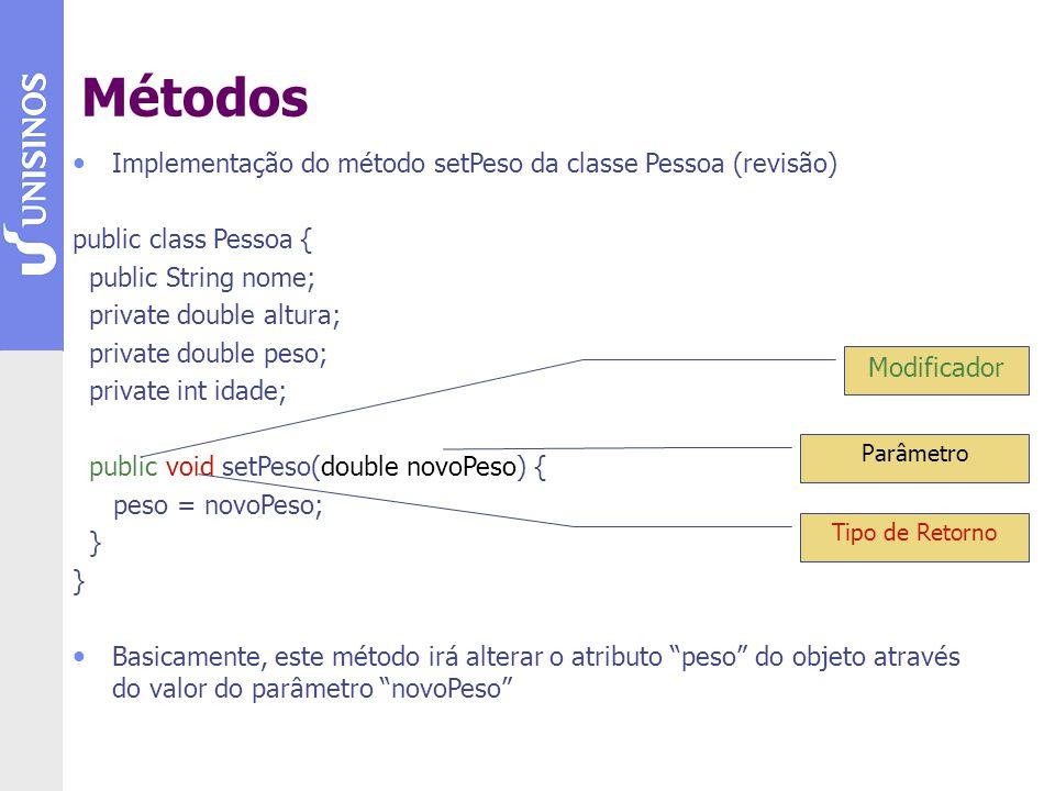 Métodos Implementação do método setPeso da classe Pessoa (revisão)