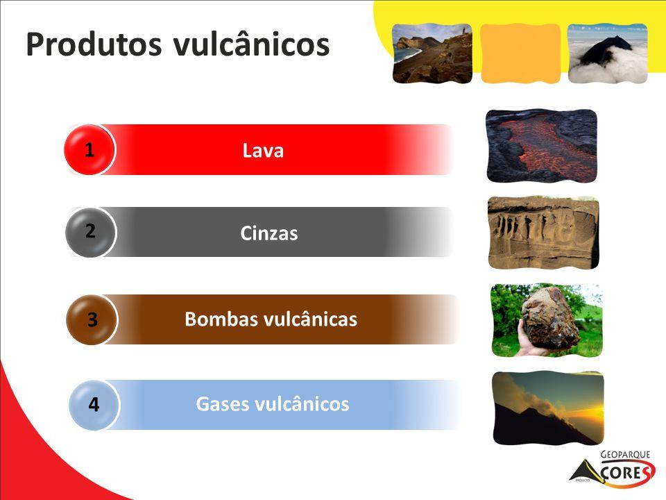 Produtos vulcânicos 1 Lava 2 Cinzas 3 Bombas vulcânicas 4