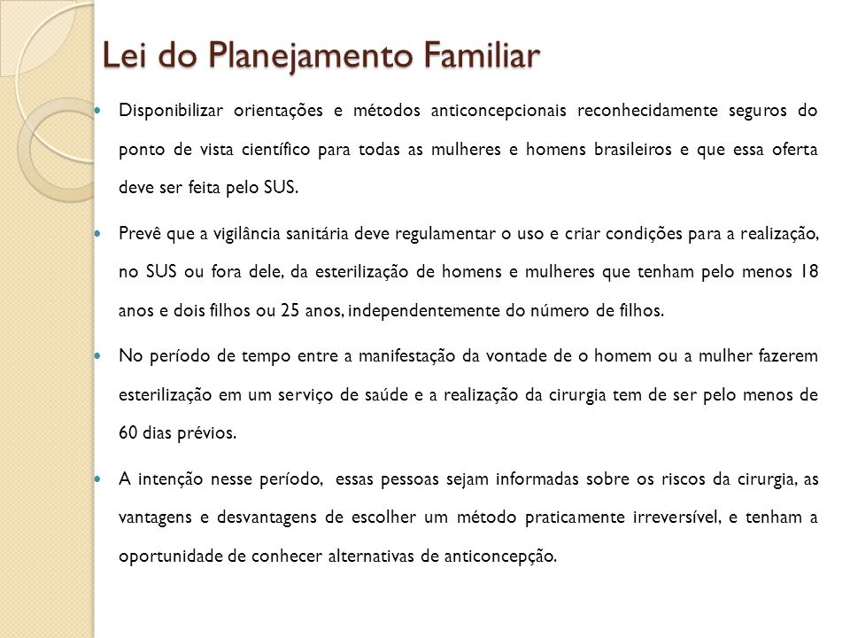 Lei do Planejamento Familiar
