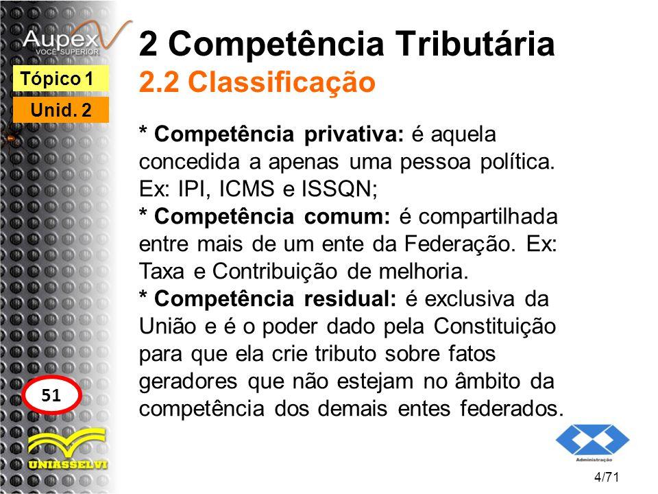 2 Competência Tributária 2.2 Classificação
