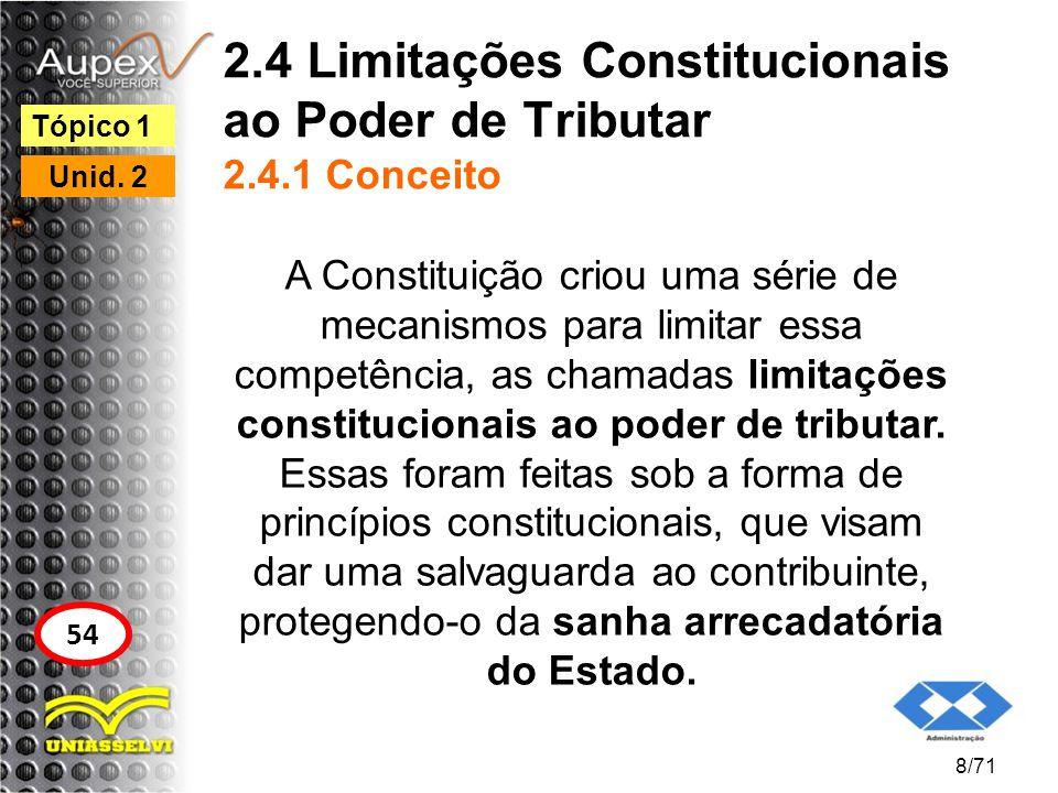 2.4 Limitações Constitucionais ao Poder de Tributar 2.4.1 Conceito