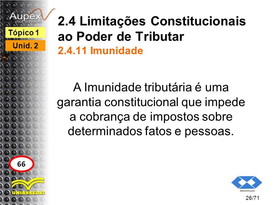 2.4 Limitações Constitucionais ao Poder de Tributar 2.4.11 Imunidade