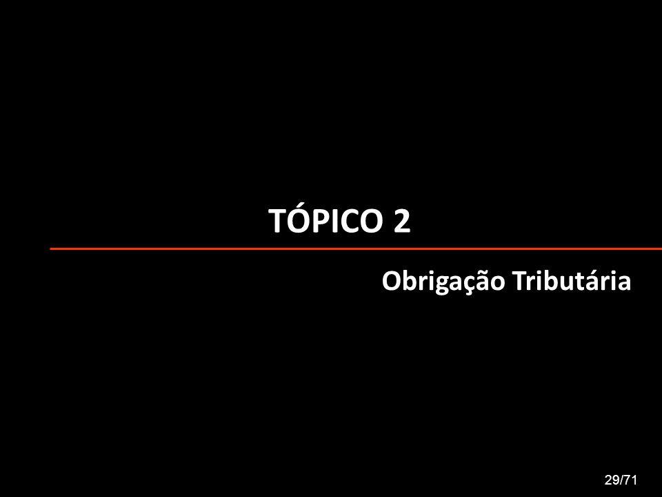 TÓPICO 2 Obrigação Tributária 29/71
