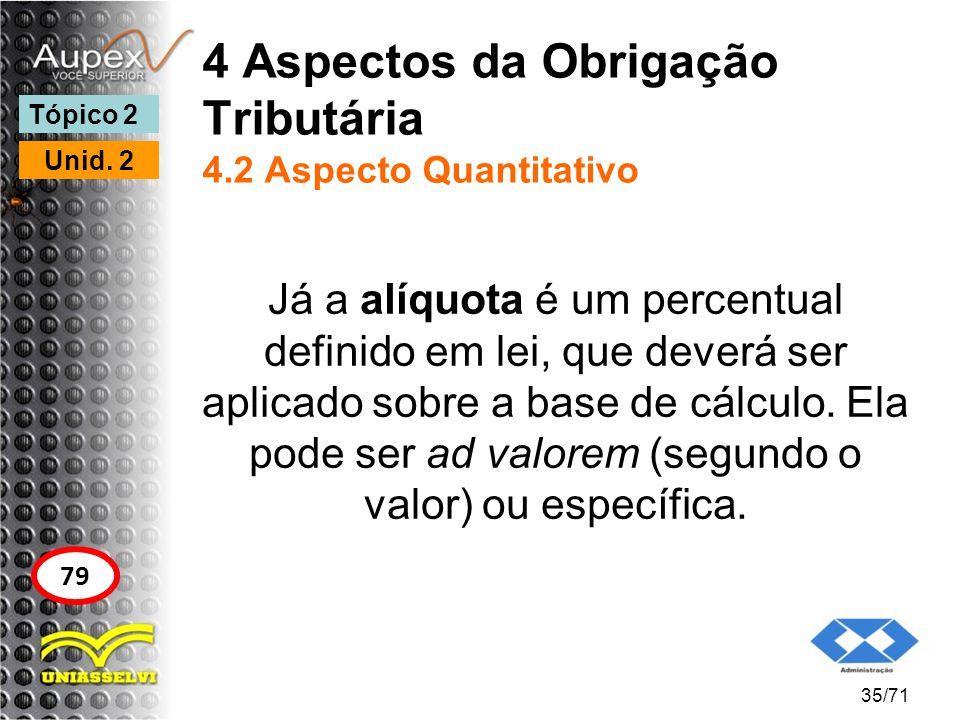 4 Aspectos da Obrigação Tributária 4.2 Aspecto Quantitativo