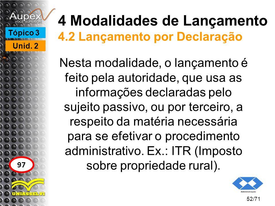 4 Modalidades de Lançamento 4.2 Lançamento por Declaração