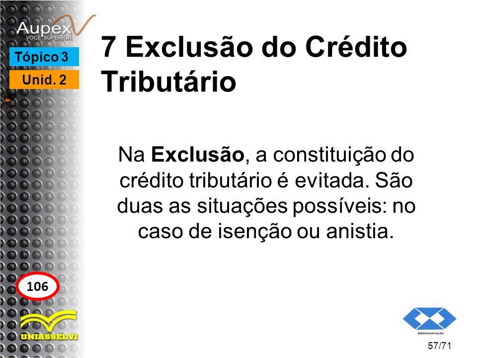 7 Exclusão do Crédito Tributário