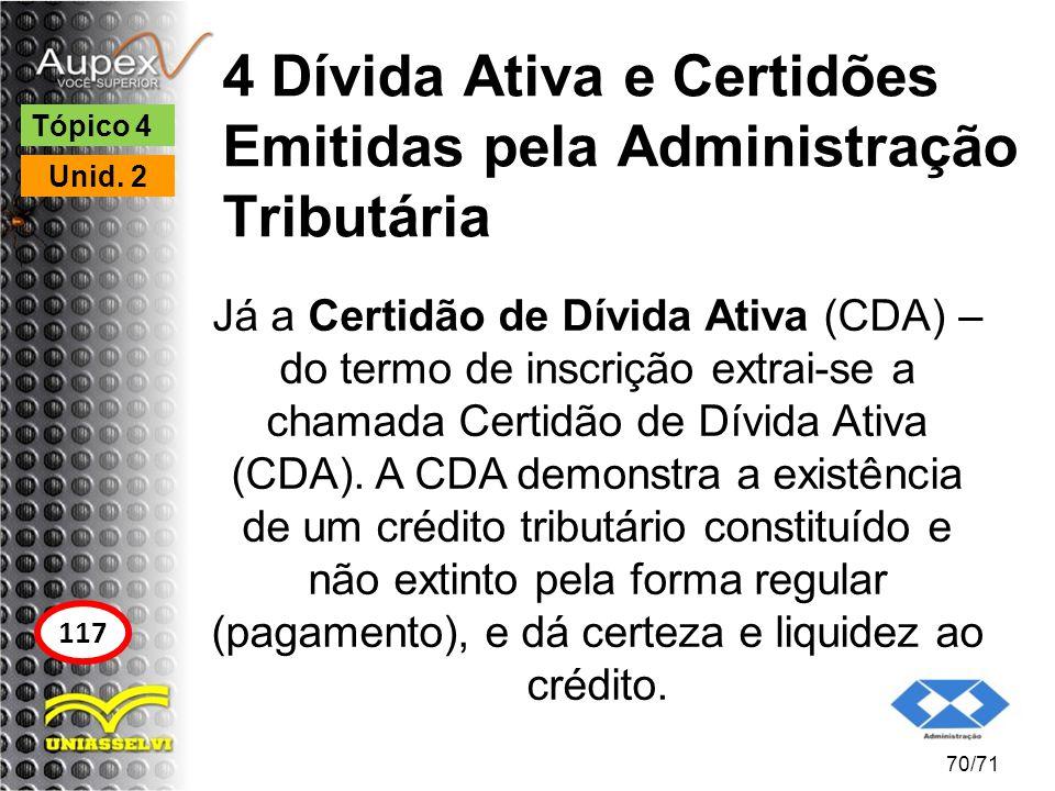 4 Dívida Ativa e Certidões Emitidas pela Administração Tributária
