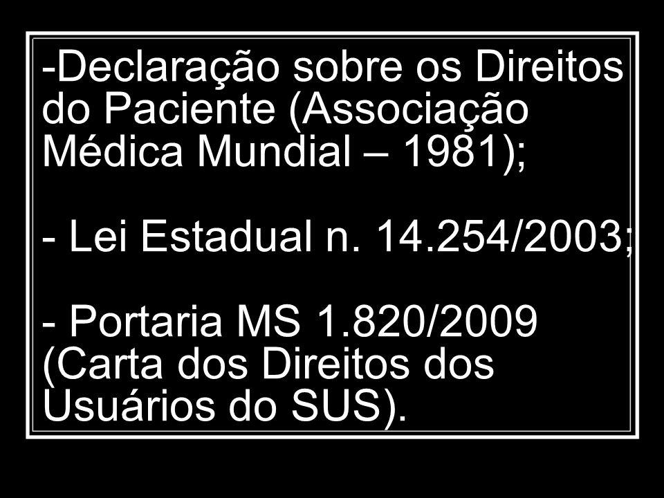 Declaração sobre os Direitos do Paciente (Associação Médica Mundial – 1981); - Lei Estadual n.