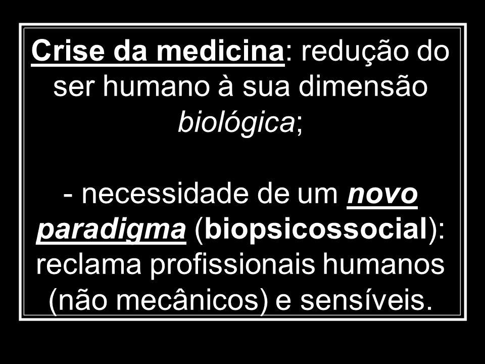 Crise da medicina: redução do ser humano à sua dimensão biológica;