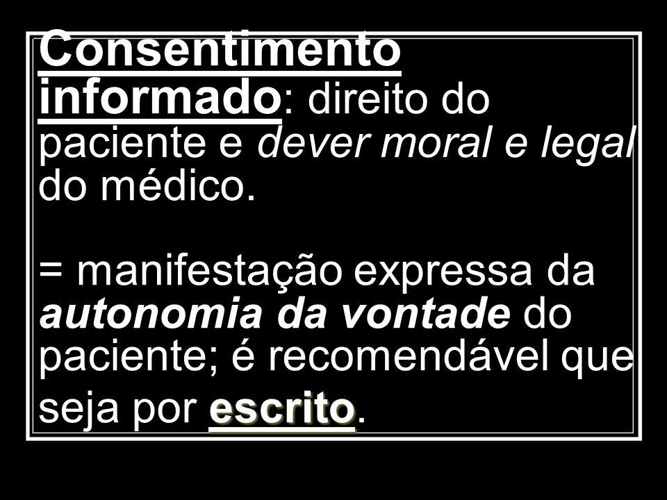 Consentimento informado: direito do paciente e dever moral e legal do médico.