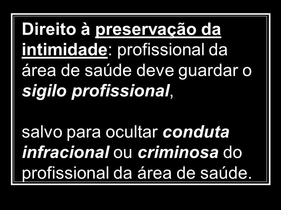 Direito à preservação da intimidade: profissional da área de saúde deve guardar o sigilo profissional,