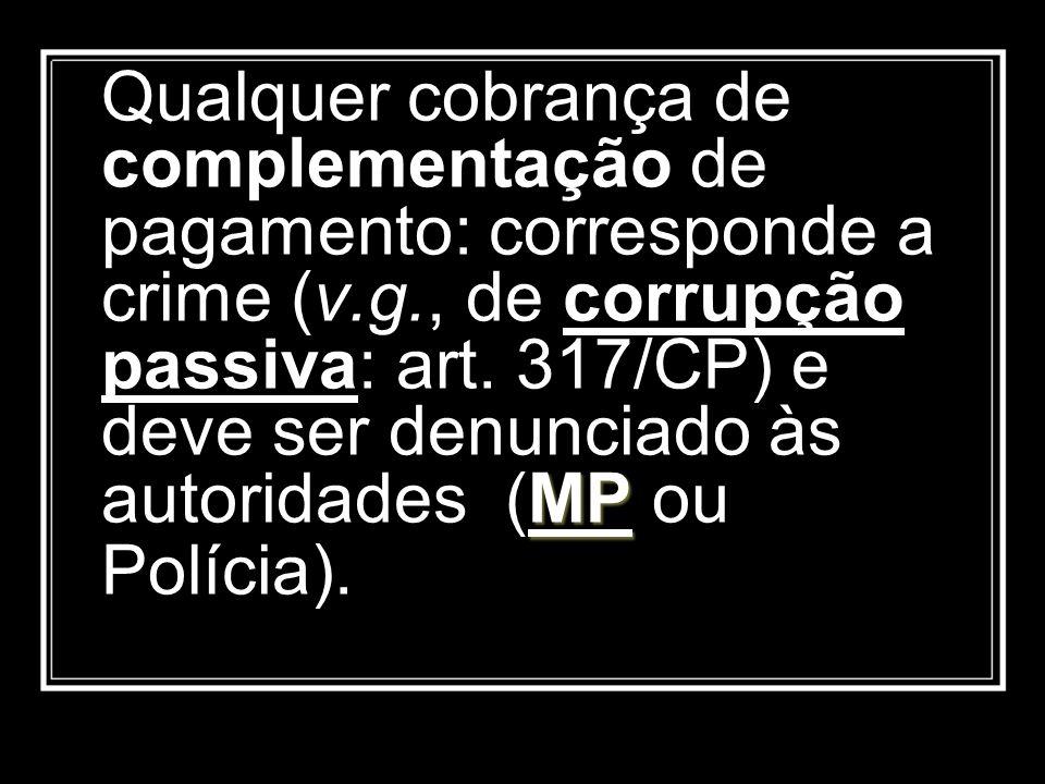 Qualquer cobrança de complementação de pagamento: corresponde a crime (v.g., de corrupção passiva: art.
