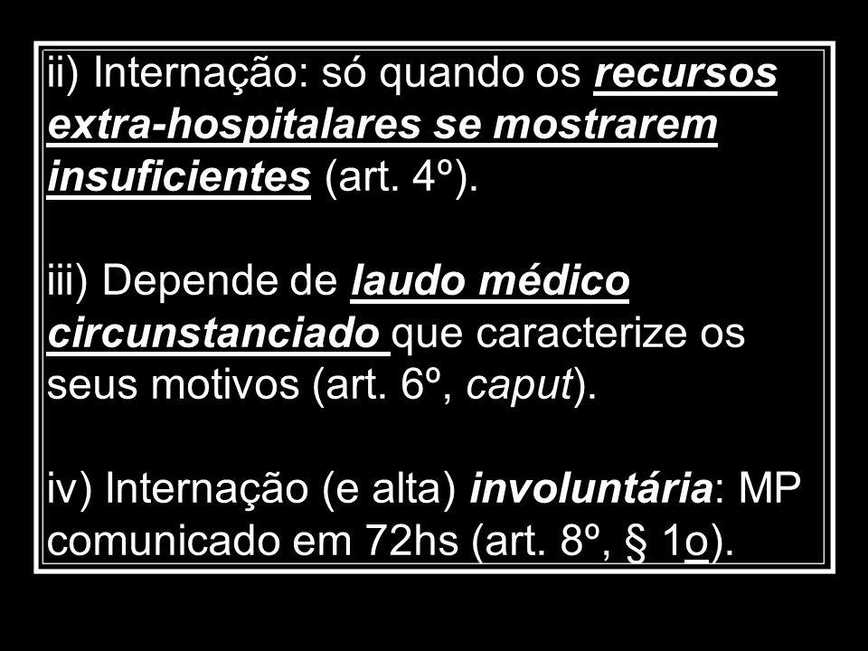 ii) Internação: só quando os recursos extra-hospitalares se mostrarem insuficientes (art. 4º).