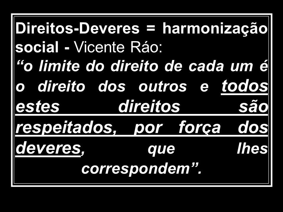 Direitos-Deveres = harmonização social - Vicente Ráo: