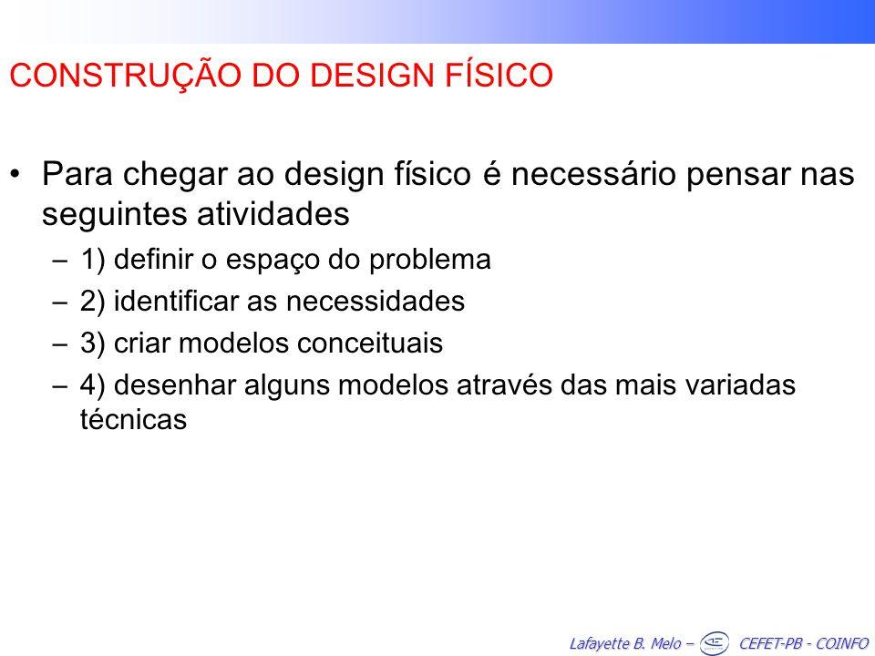 CONSTRUÇÃO DO DESIGN FÍSICO