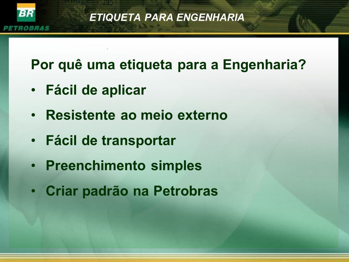 ETIQUETA PARA ENGENHARIA