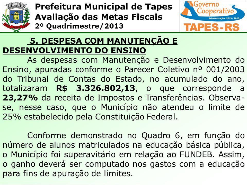 5. DESPESA COM MANUTENÇÃO E DESENVOLVIMENTO DO ENSINO